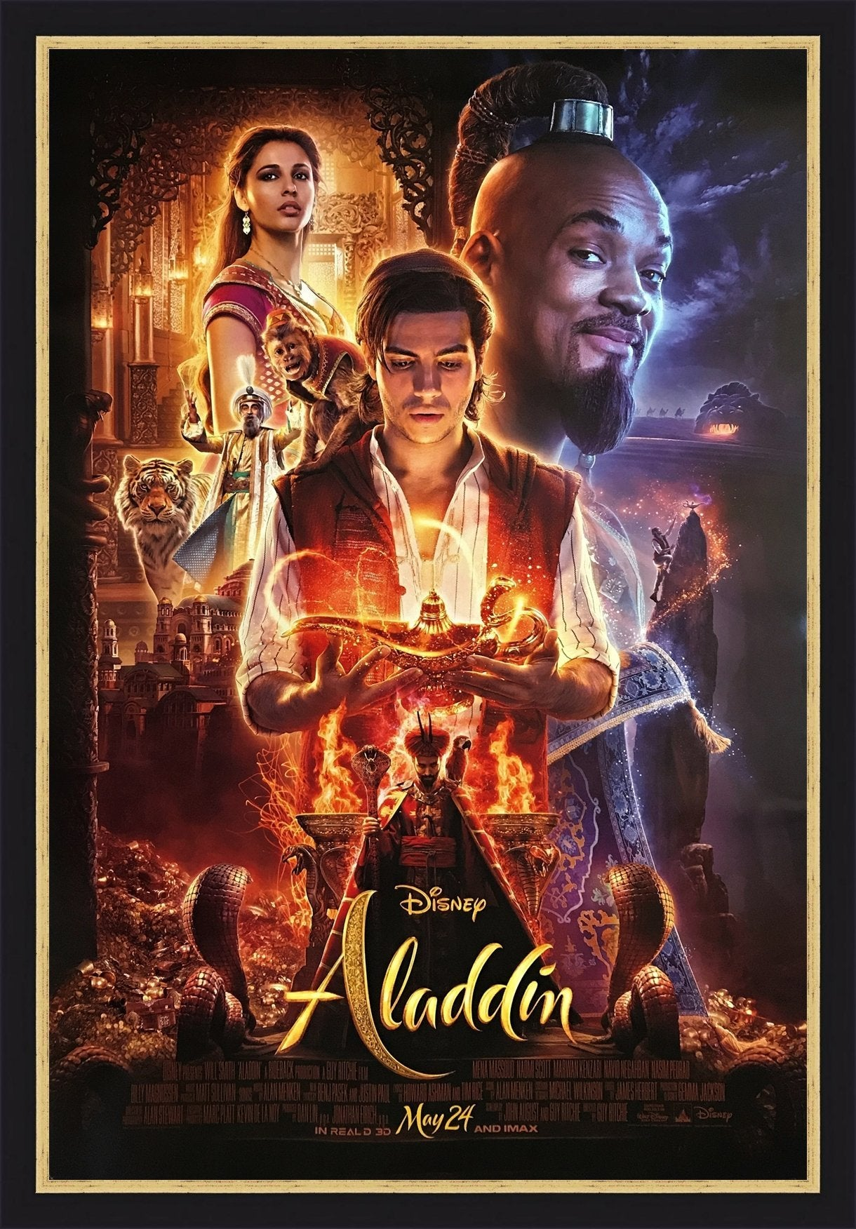 An original movie poster for the 2019 Disney film Aladdin