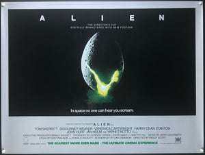 An original movie poster for the Ridley Scott film Alien