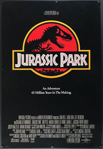 An original movie poster for the film Jurassic Park