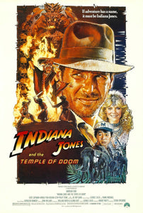 An original movie poster for Indiana Jones and the Temple of Doom