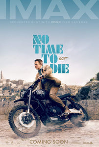 An original IMAX movie poster for the James Bond movie No Time To Die
