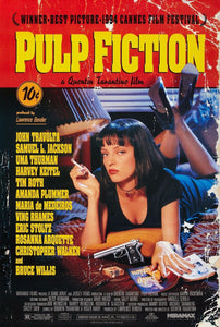 An original movie poster for the Quentin Tarantino film Pulp Fiction