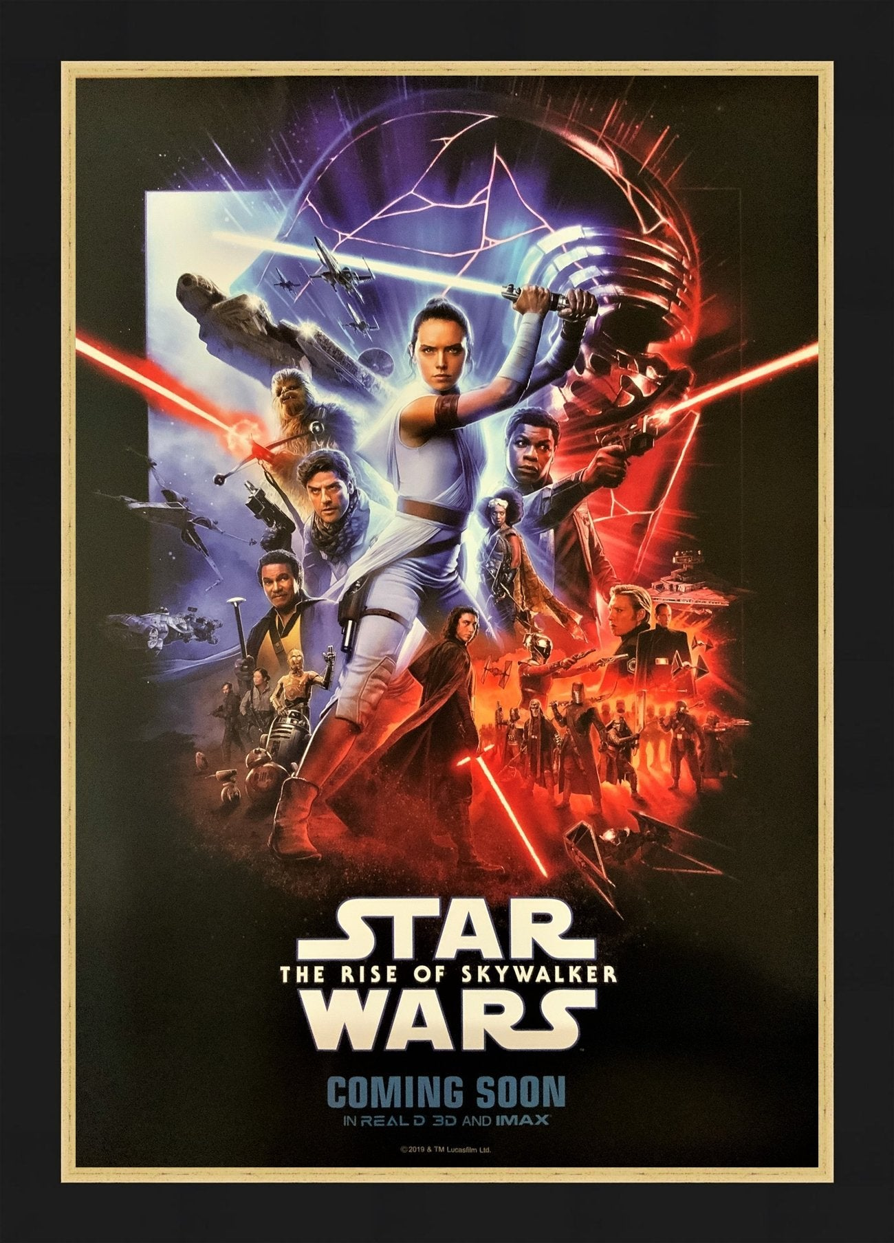 An original Real D / IMAX movie poster for Star Wars The Rise of Skywalker
