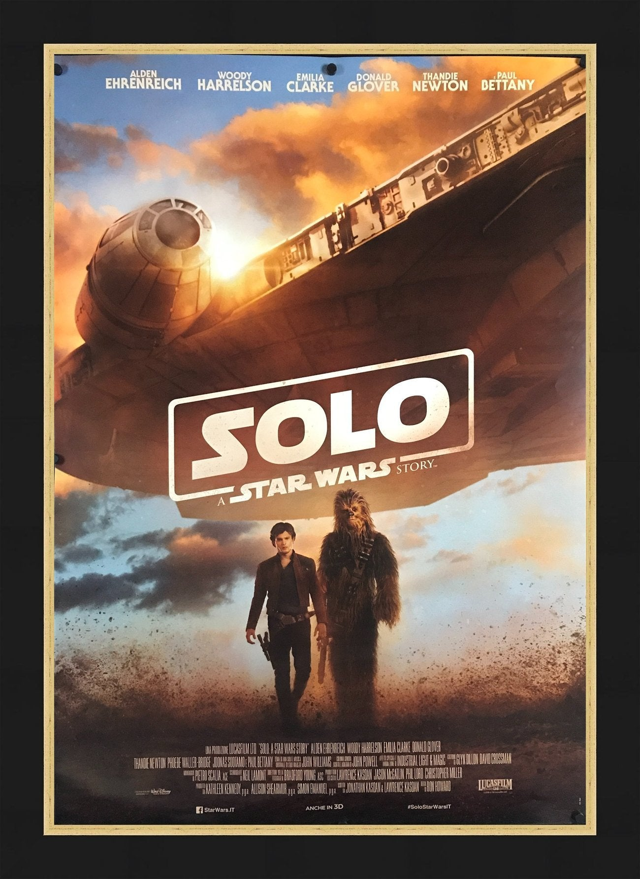An original Italian move poster for the film Solo, a Star Wars story