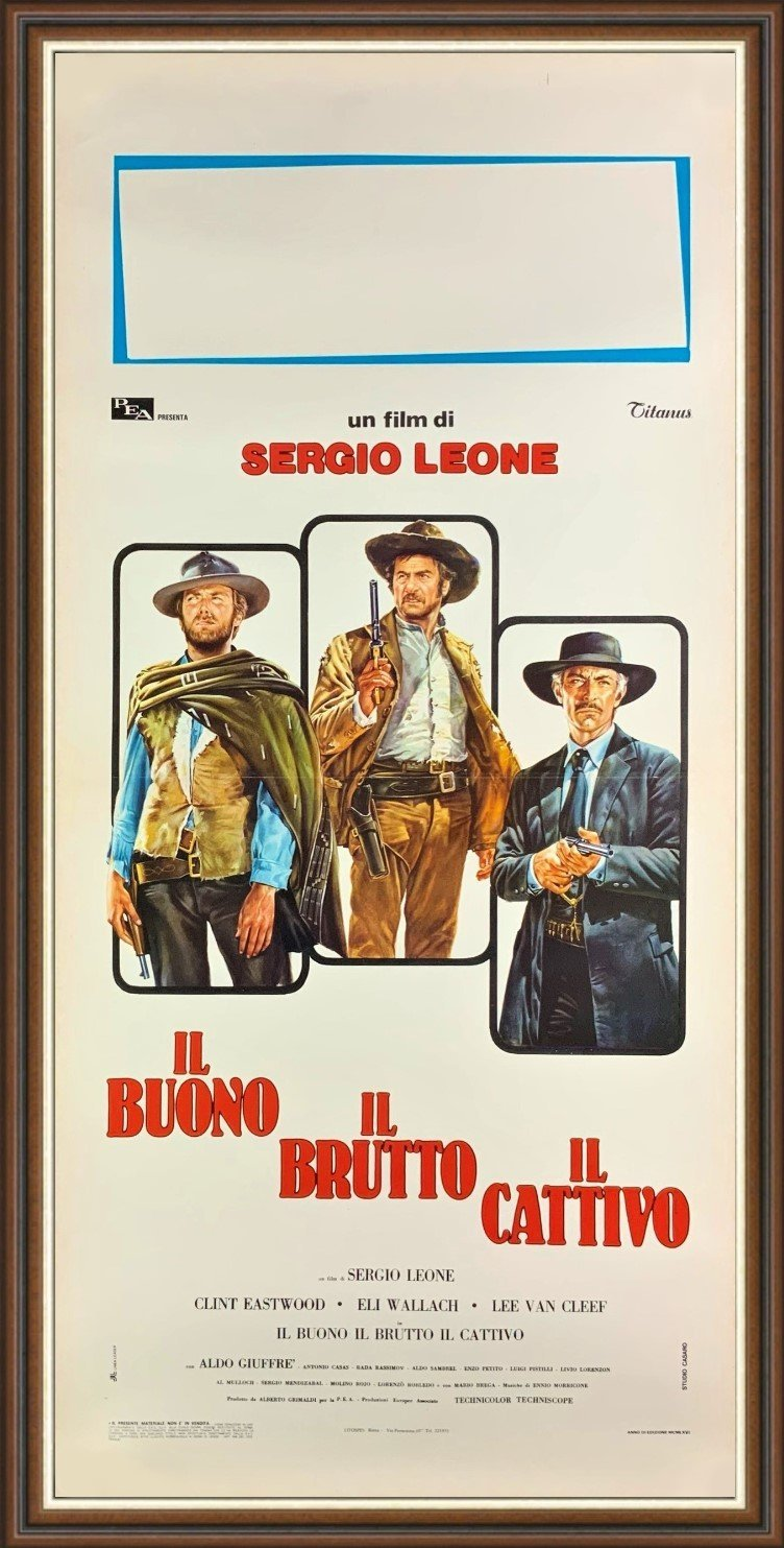 An original Italian locandina movie poster for the Spaghetti Western film The Good The Bad and The Ugly