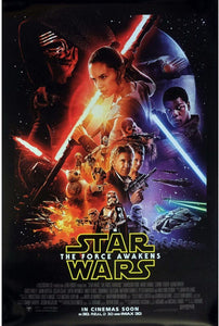 An original movie poster for Star Wars The Force Awakens