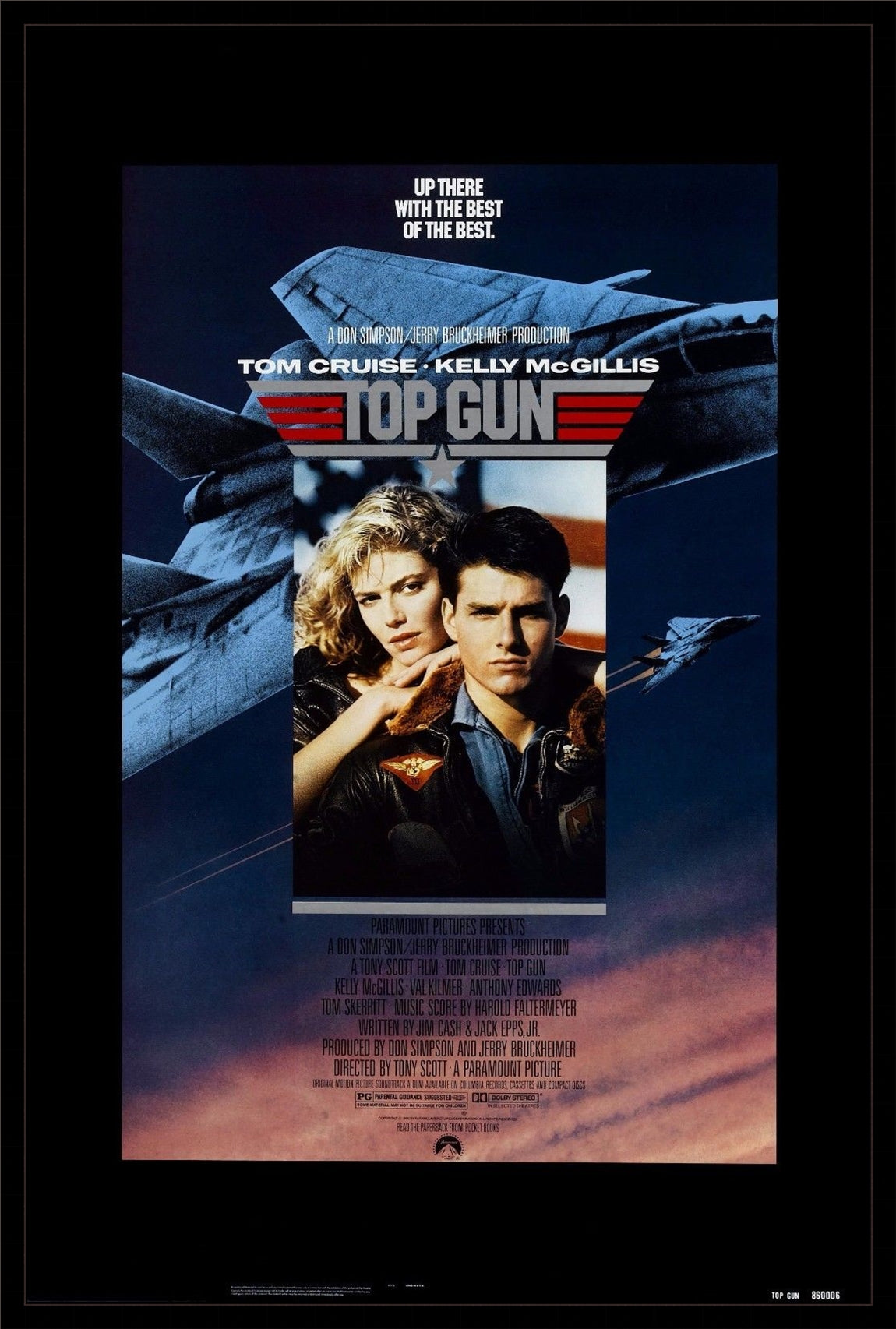 An original movie poster for the film Top Gun