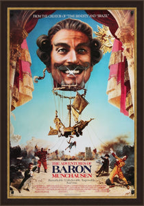 "An original movie poster for the Terry Gilliam film ""The Adventrues of Baron Munchausen"""