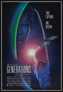 An original movie poster for the film Star Trek Generations