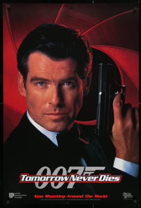 An original movie poster for the James Bond film Tomorrow Never Dies