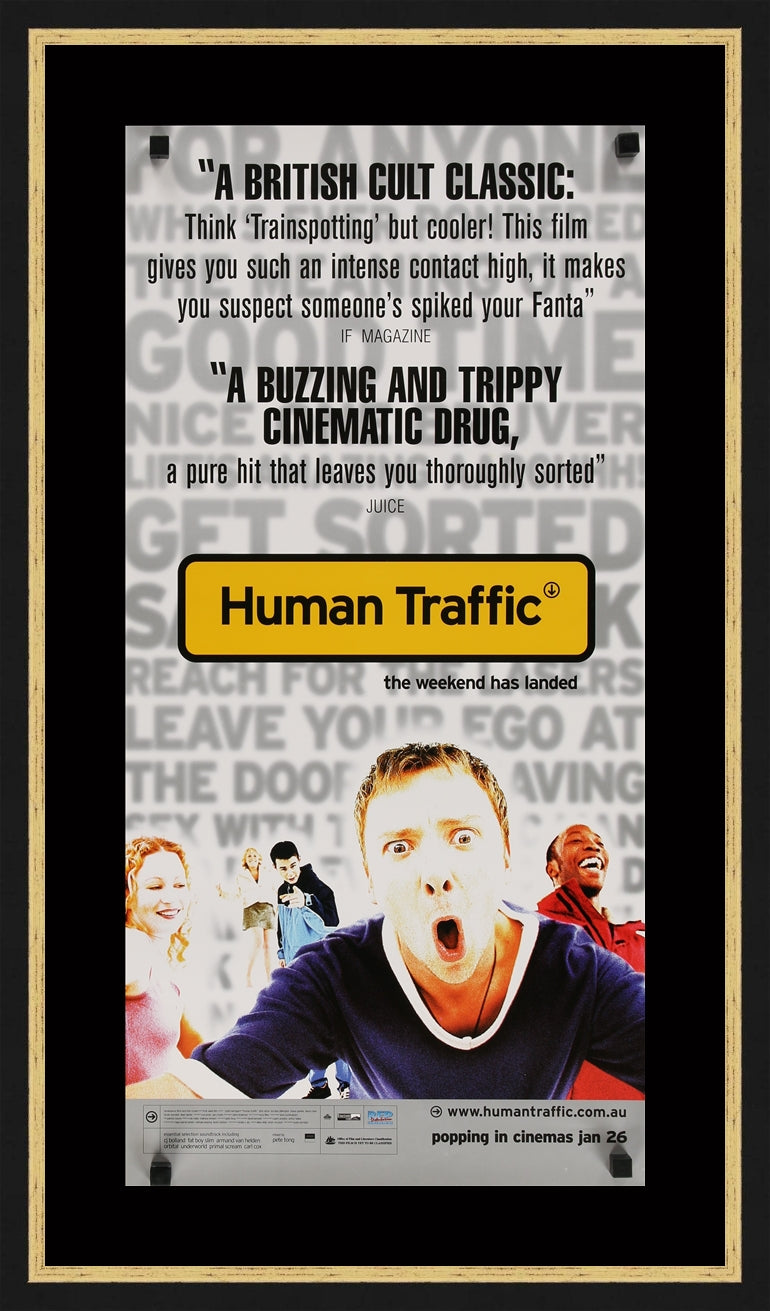 An original movie poster for the film Human Traffic