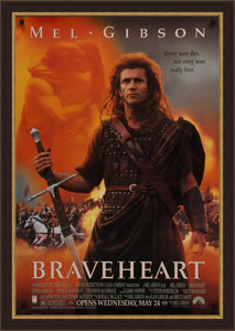 An original movie poster for the film Braveheart with Mel Gibson