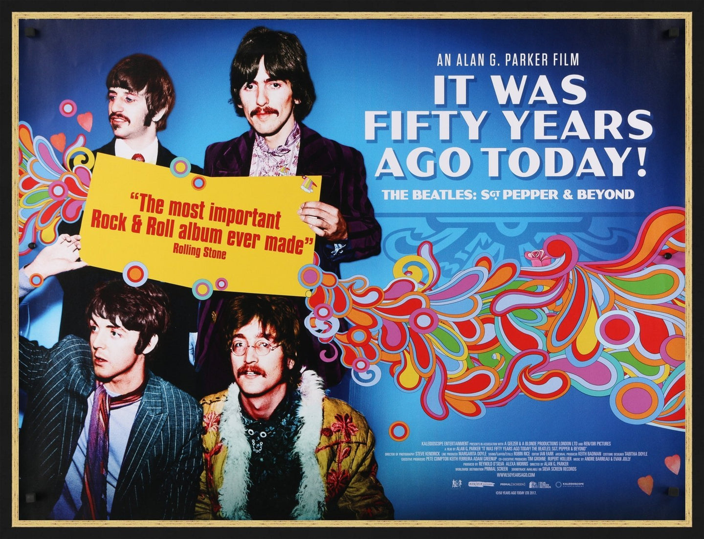 An original movie poster for the Beatles film It Was Fifty Years Ago Today