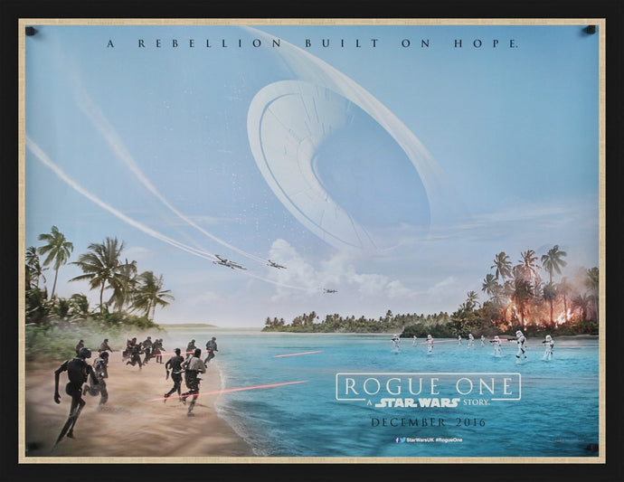 An original British teaser quad movie poster for Rogue One : A Star Wars story