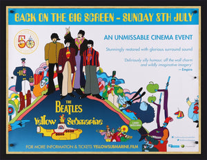 An original movie poster for the Beatles Film The Yellow Submarine
