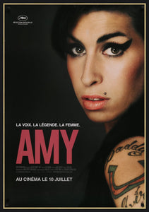 An original movie poster for the biographical film Amy, of Amy Winehouse