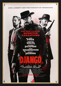An original movie poster for the Tarantino film Django Unchained