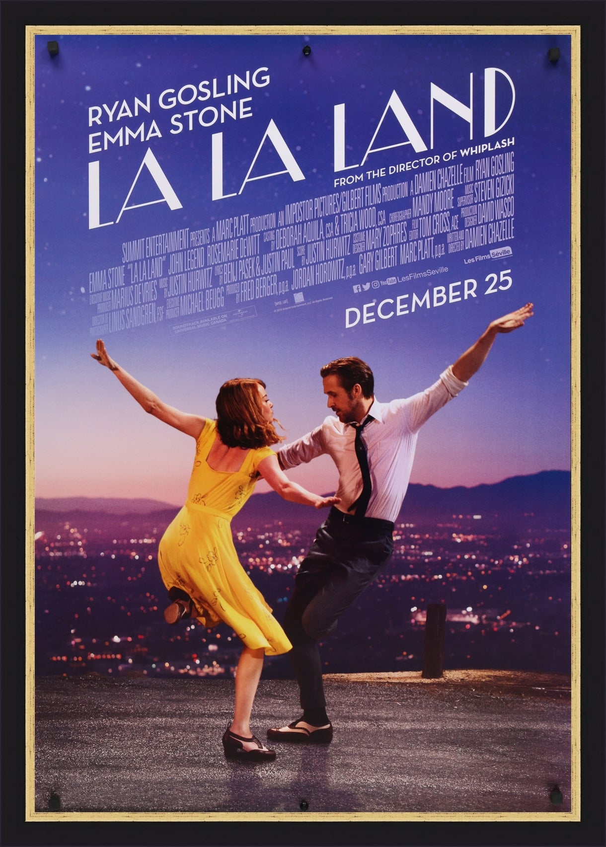 An original movie poster for the film La La Land
