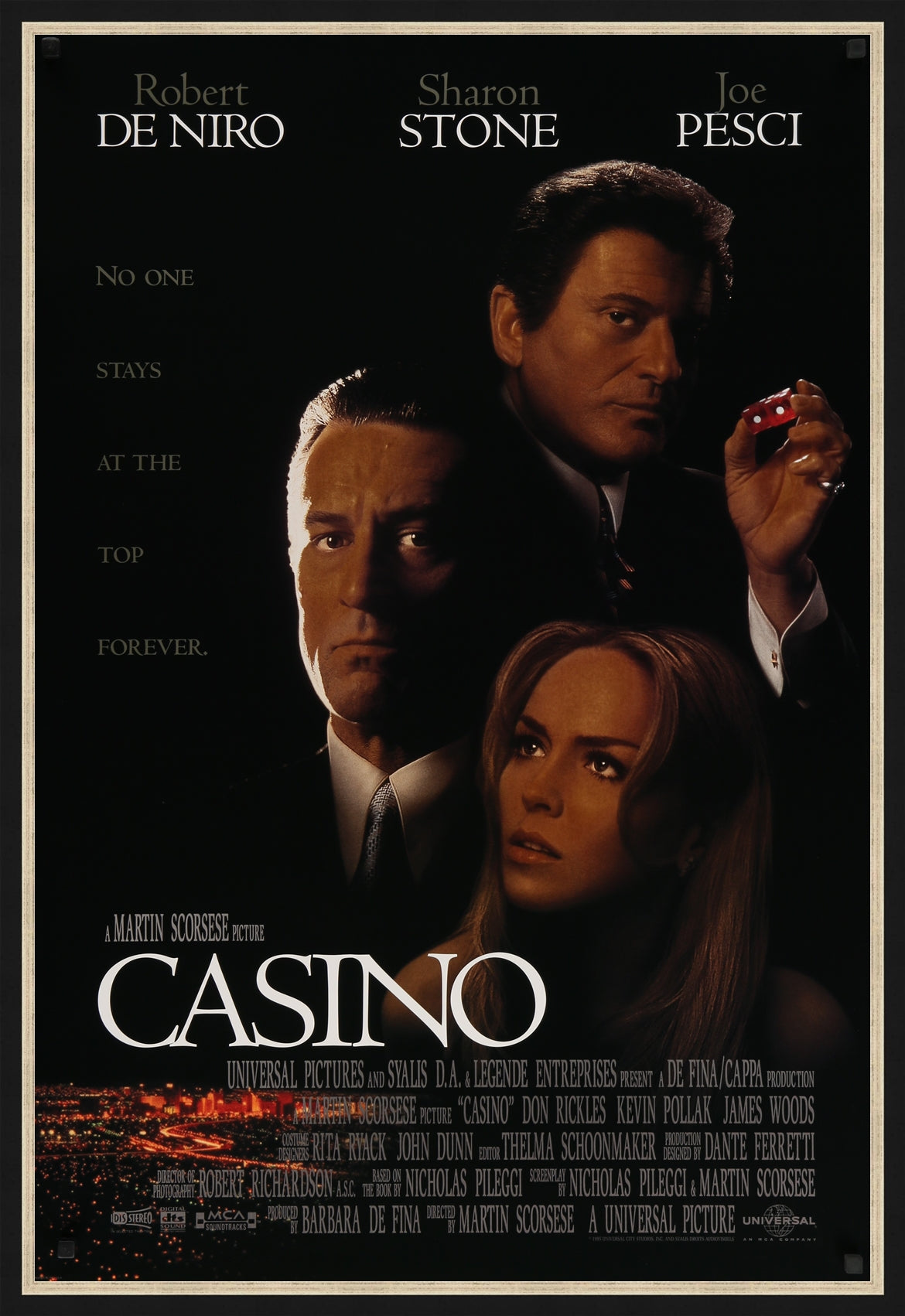 An original movie poster for the Martin Scorsese film Casino