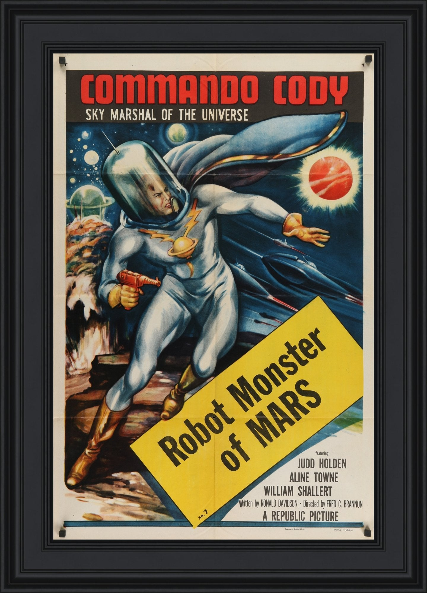 An original one sheet movie poster for Commando Cody - Chapter 7 - Robot Monster of Mars
