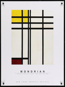 An original poster of Piet Mondrian's Opposition of Lines: Red and Yellow produced by the New York Graphic Society