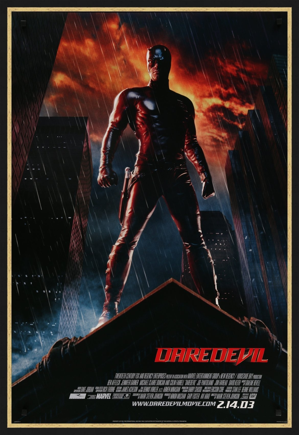 An original movie poster for the Marvel film Daredevil