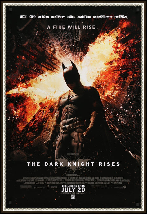 An original movie poster for the Batman film The Dark Knight Rises