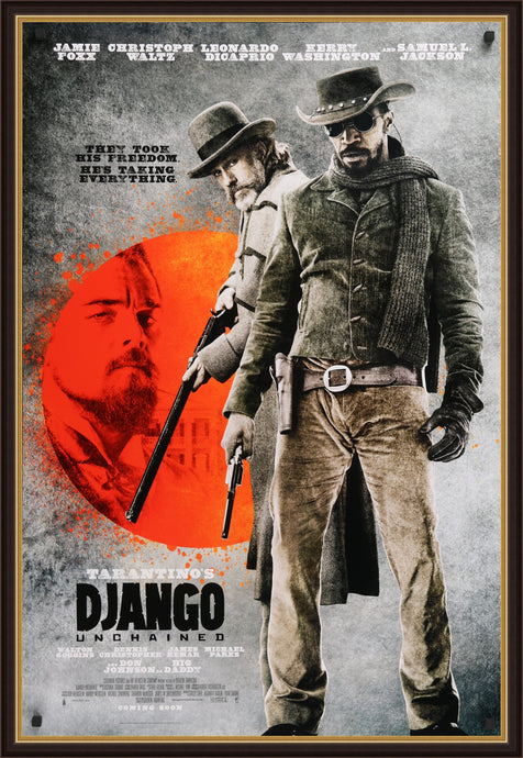 An original movie poster for the Quentin Tarantino film Django Unchained