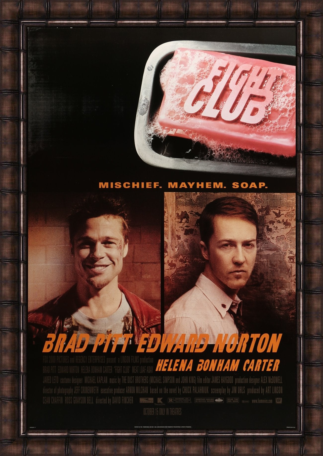 An original movie poster for the film Fight Club