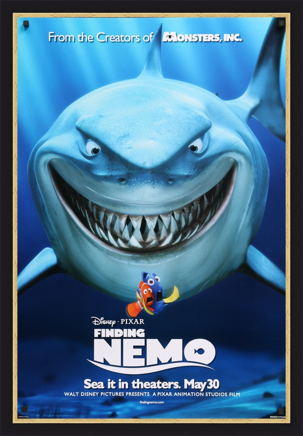 An original movie poster for the film Finding Nemo