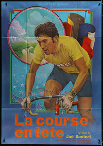 "An original movie / film poster for ""La Course En Tete"" with Eddy Merckx."