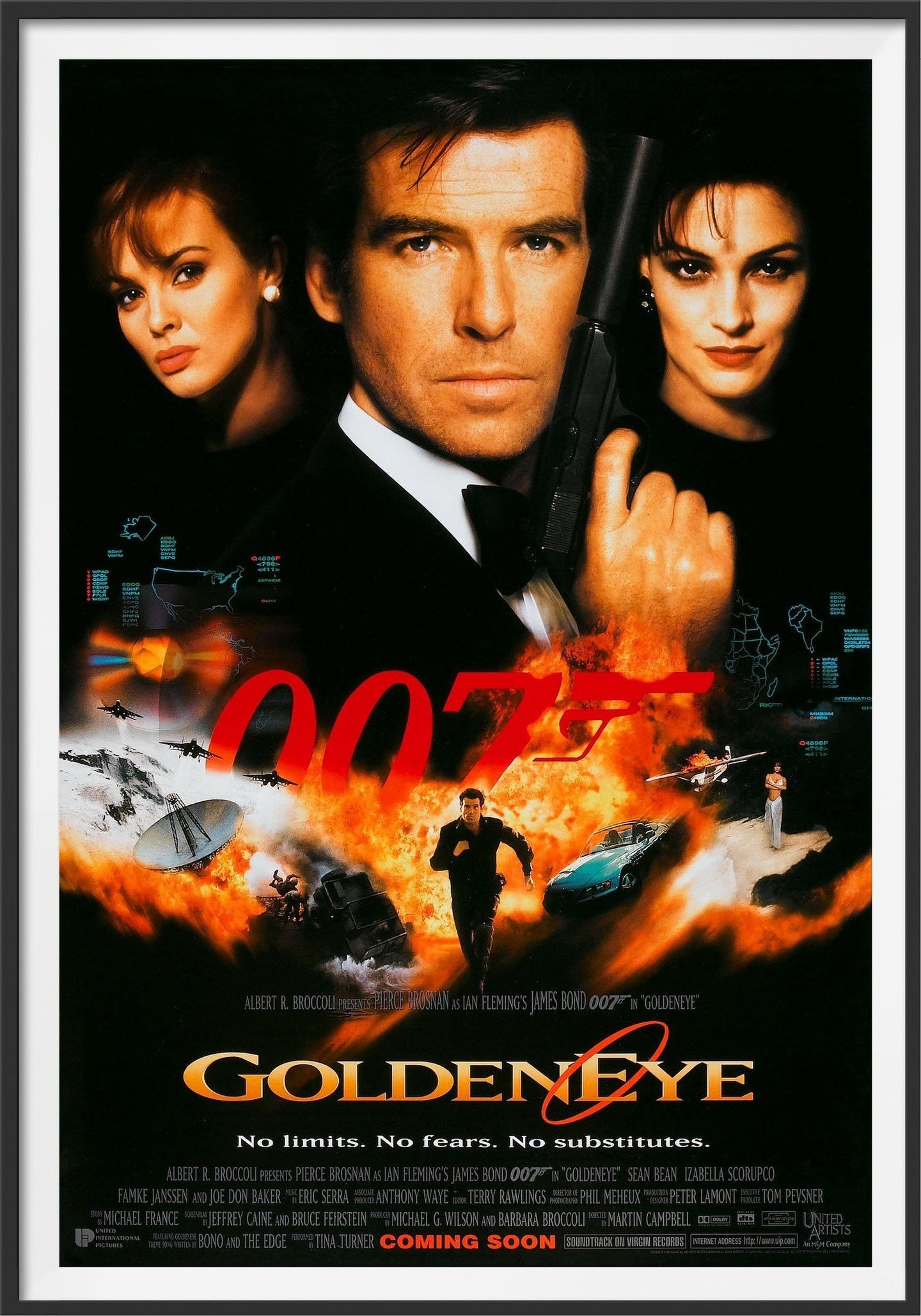 An original movie poster for the the James Bond film Goldeneye