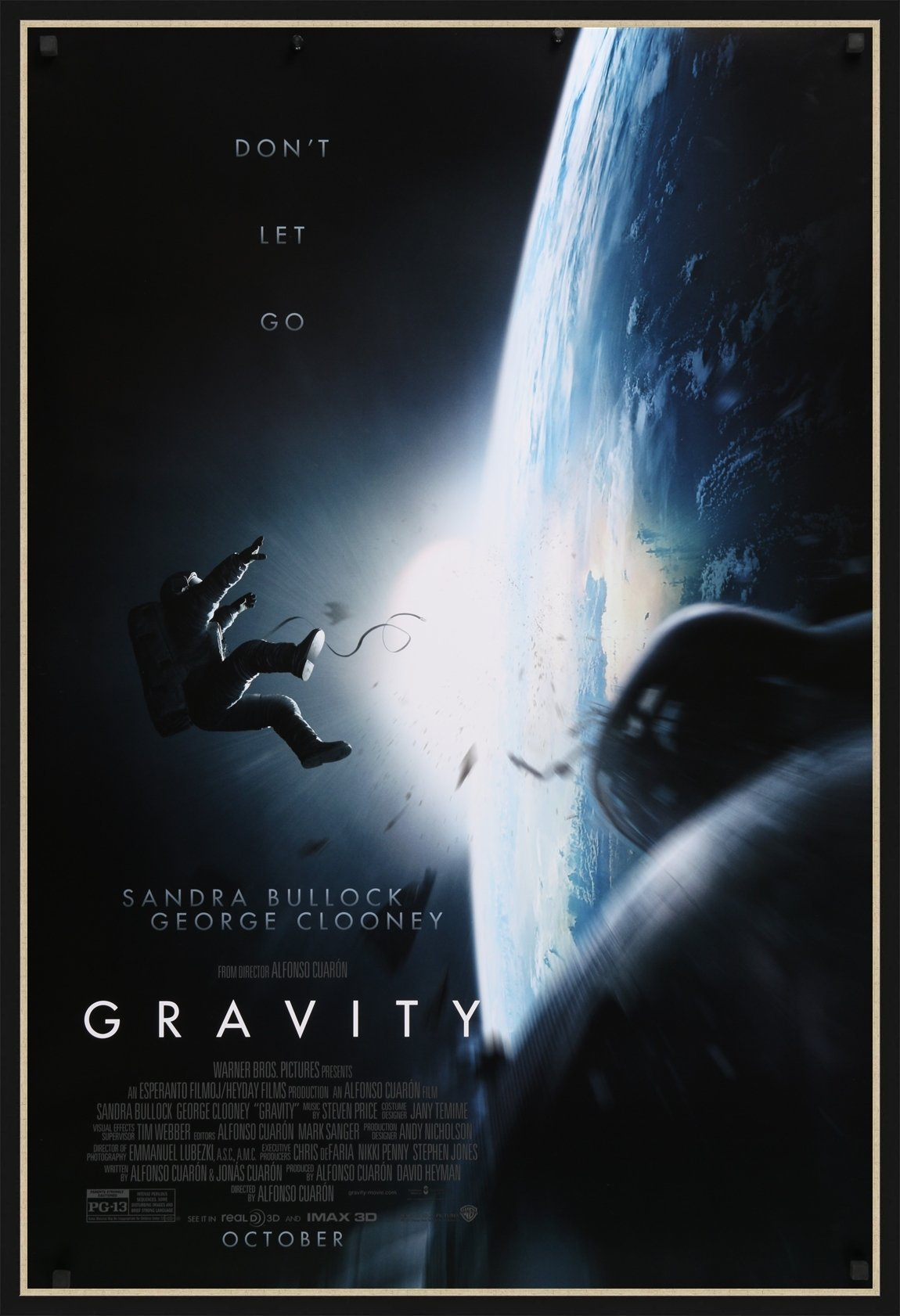 An original movie poster for the 2013 film Gravity