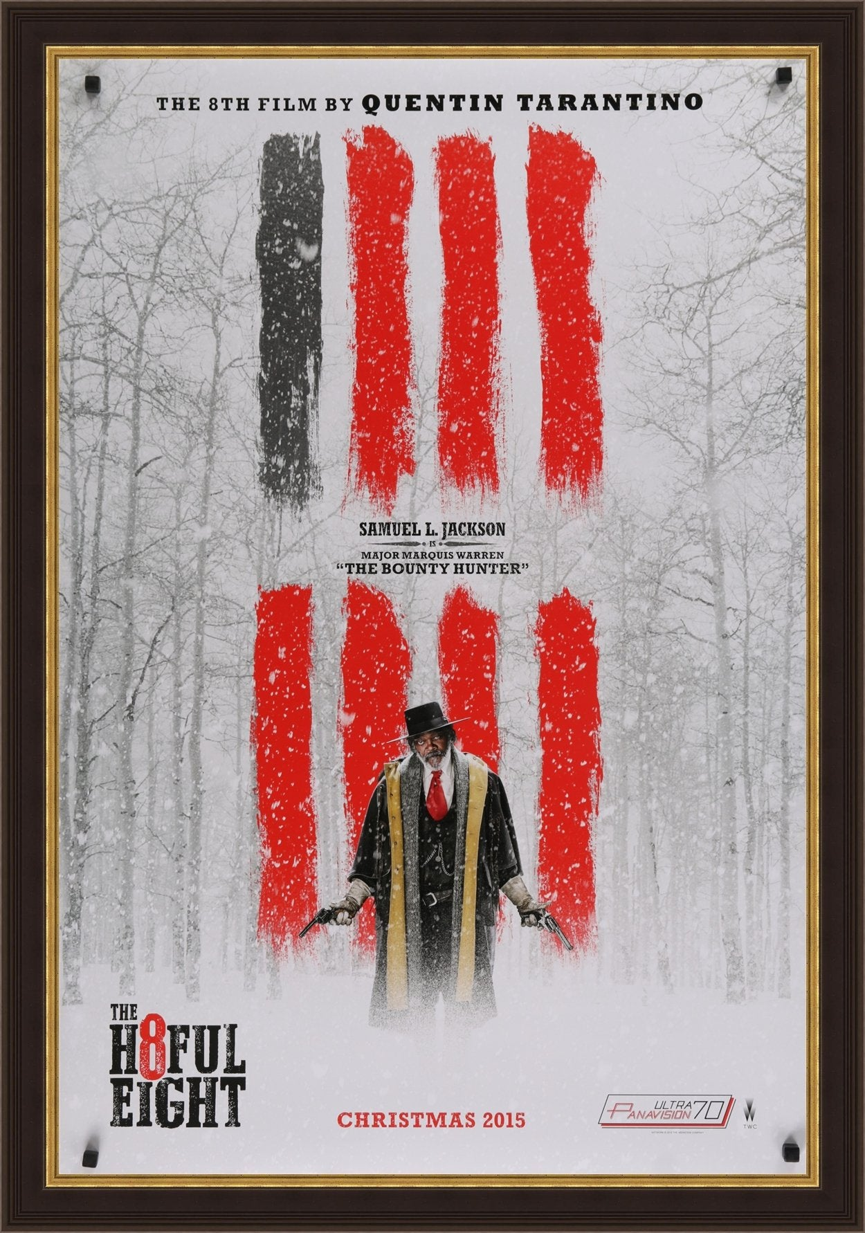An original movie poster for the Tarantino film The Hateful Eight