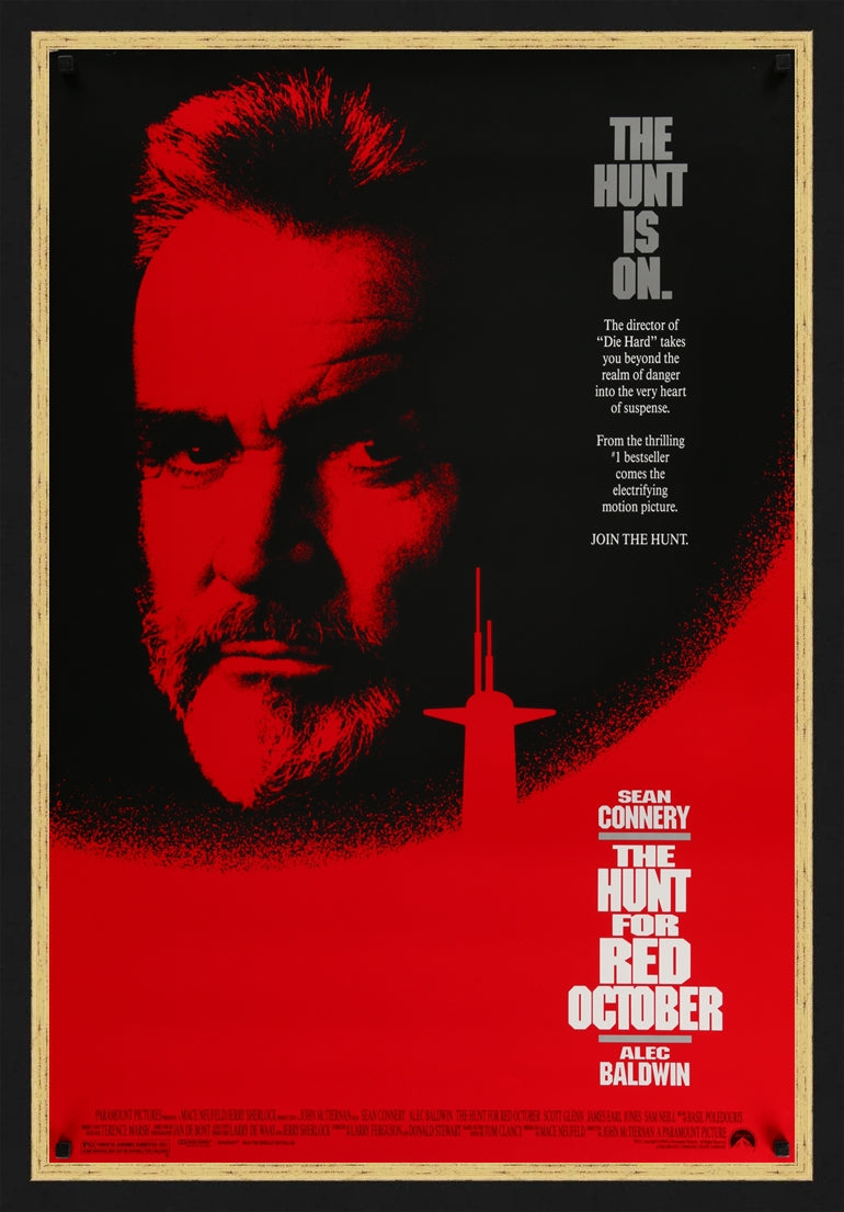 An original movie poster for the film The Hunt for Red October