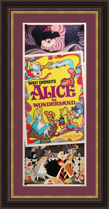 An original movie poster for the Disney film Alice In Wonderland