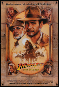 An original movie poster for Indiana Jones and the Last Crusade