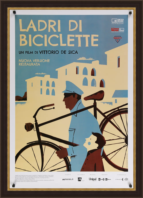 An original movie poster for the Italian film Ladri Di Biciclette / The Bicycle Thief