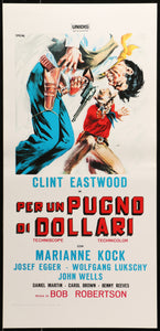 An original italian movie poster for the spaghetti western movie A Fistful of Dollars
