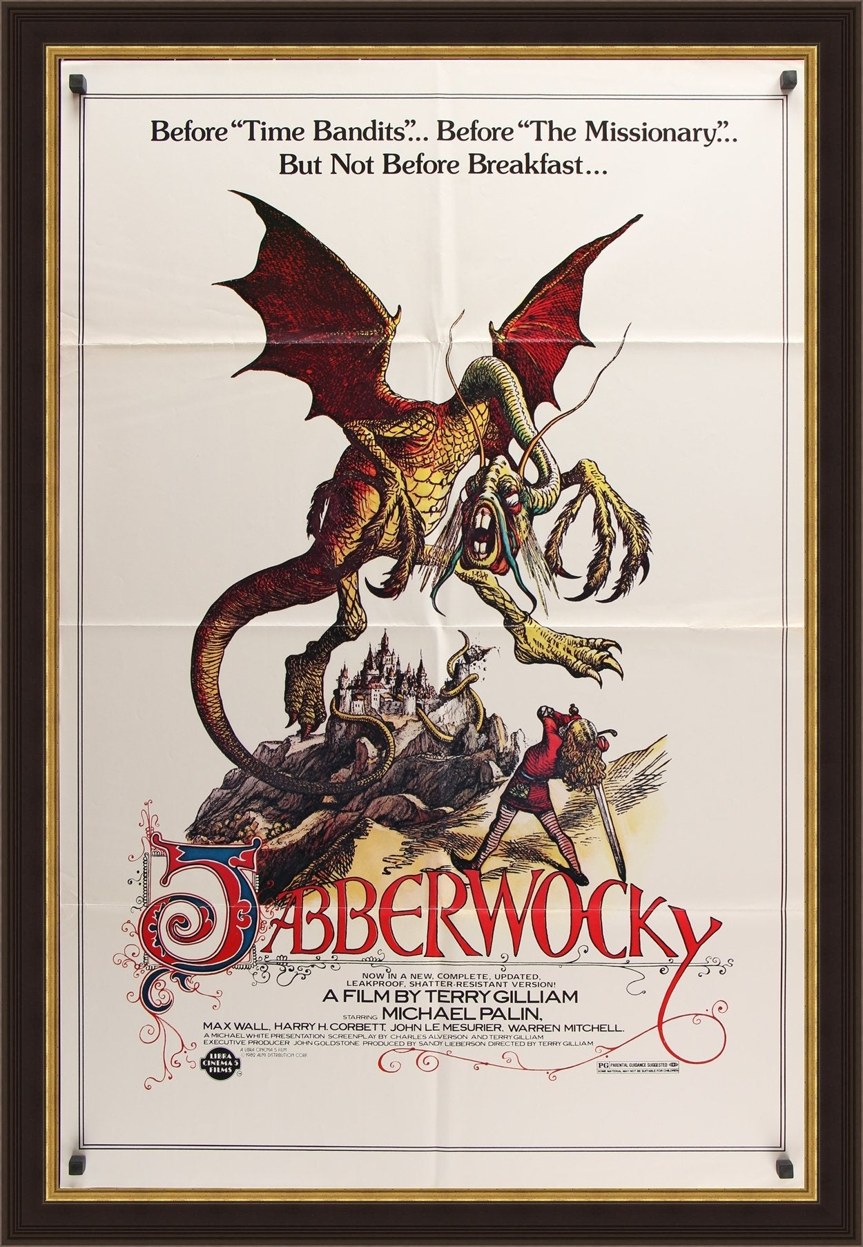 An original movie poster for the Terry Gilliam film Jabberwocky