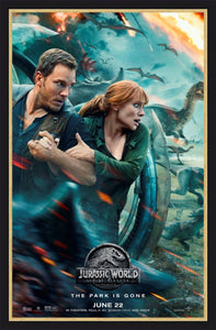 An original movie poster for the film Jurassic World Fallen Kingdom