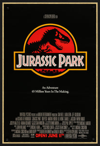 An original one sheet movie poster for the 1993 film Jurassic Park