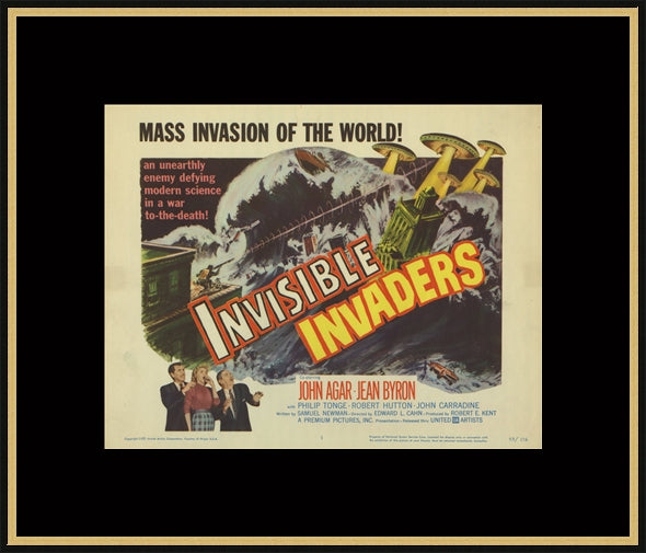 An original lobby card for the film Invisible Invaders
