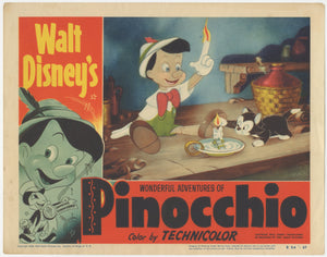 An original lobby card for the Disney film Pinocchio