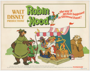 An original lobby card for the Disney movie Robin Hood