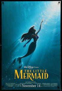 An original movie poster for the Disney film The Little Mermaid by John Alvin