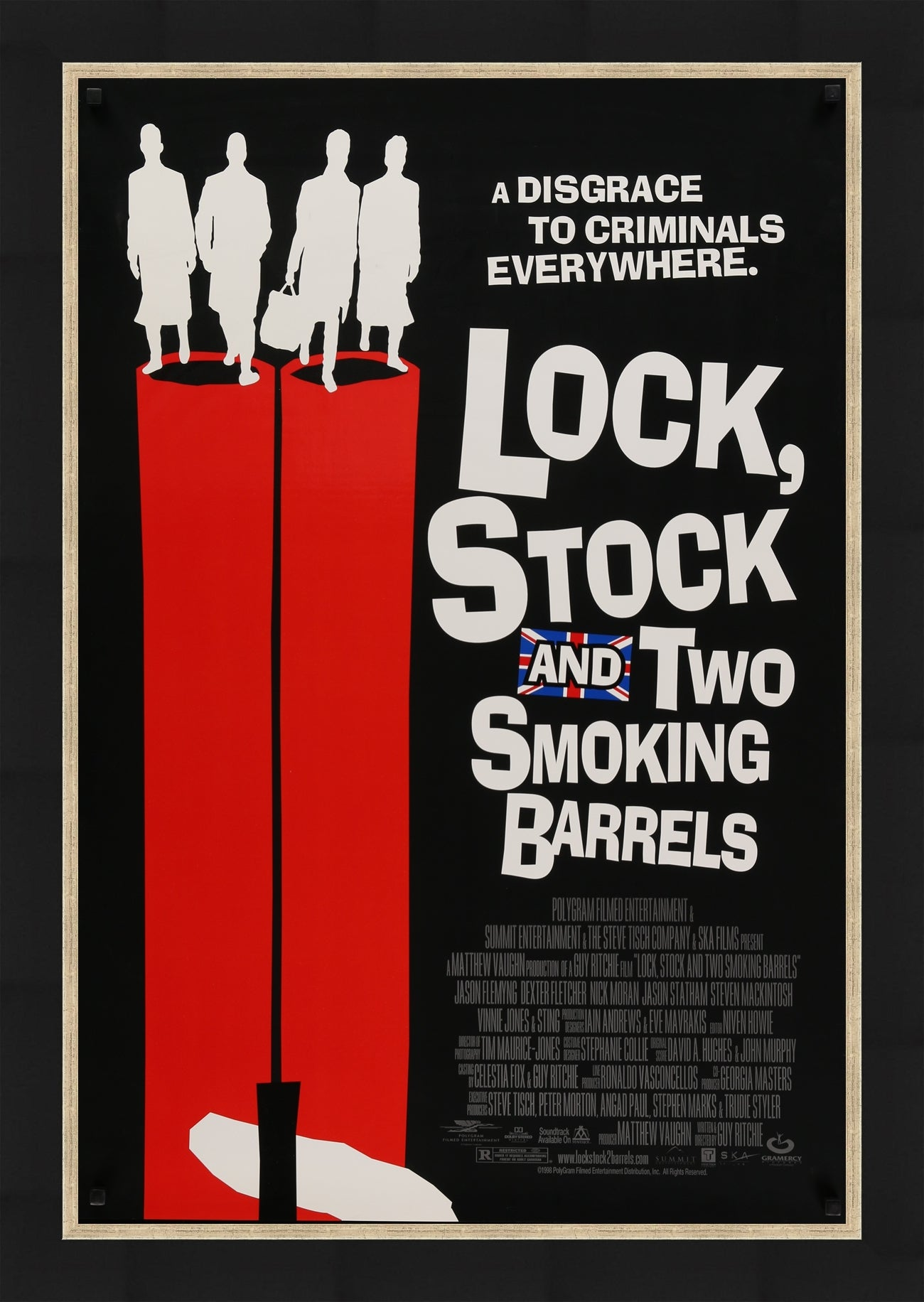 An original movie poster for Guy Ritchie's Lock, Stock and Two Smoking Barrels