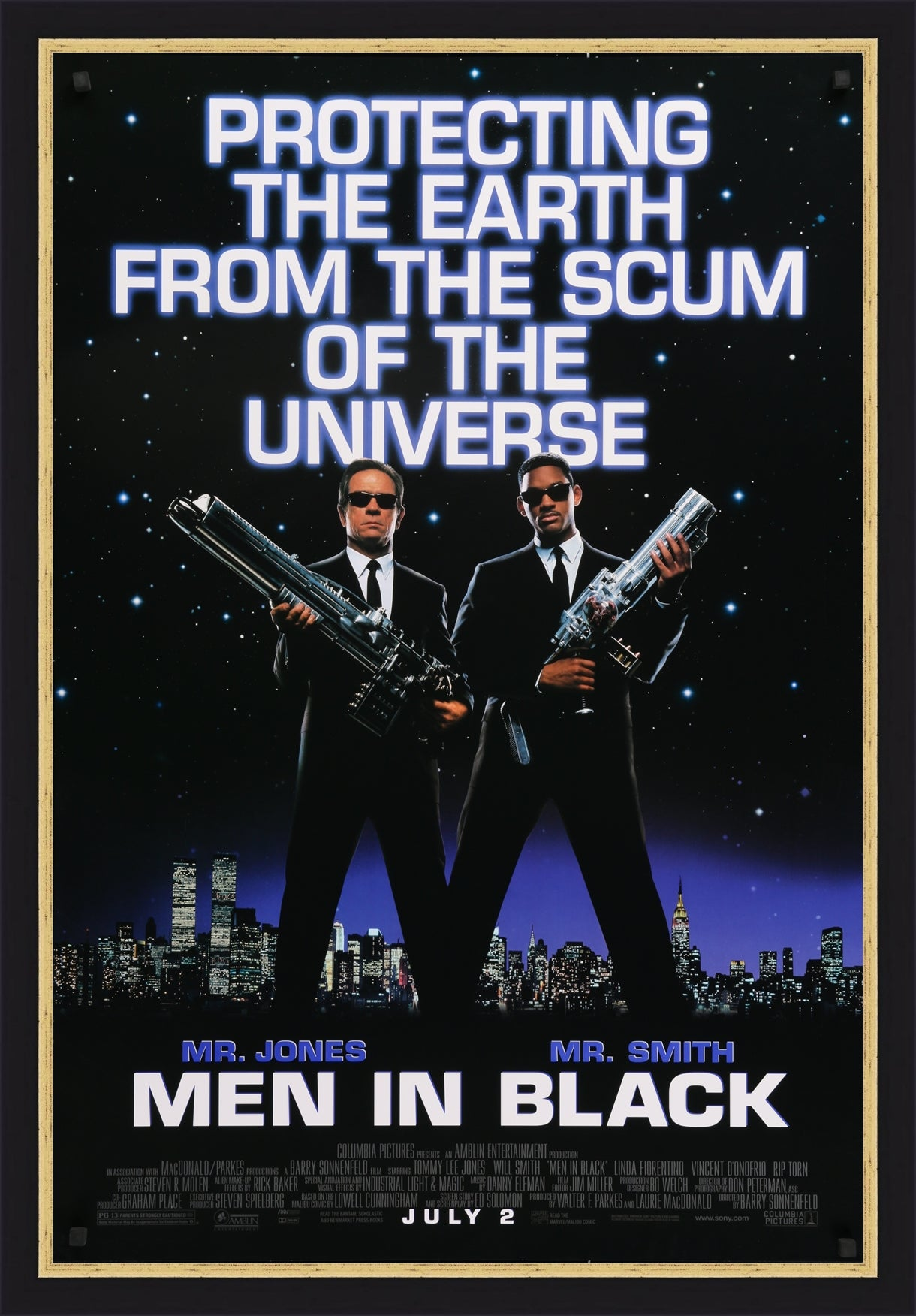 An original movie poster for the 1997 film Men In Black
