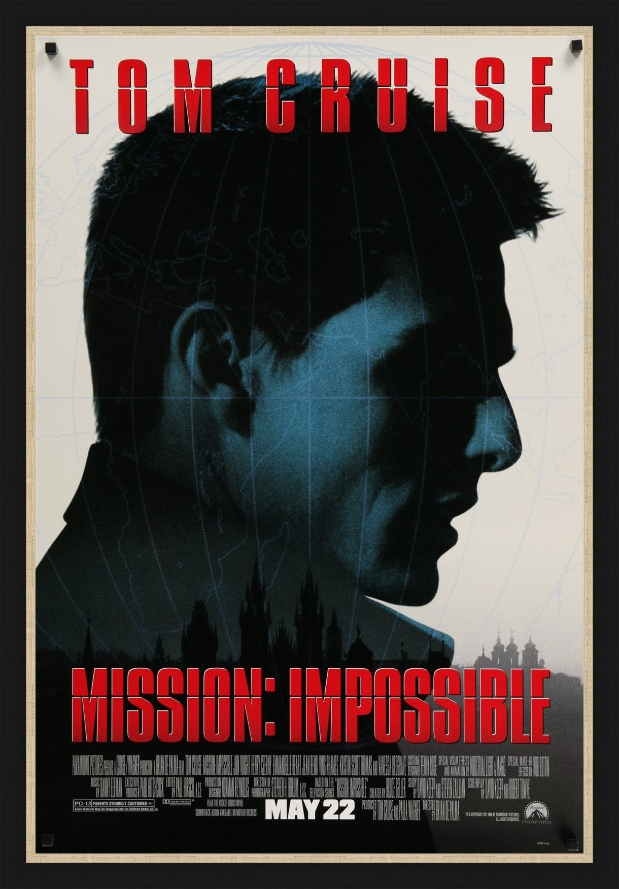 An original movie poster for the film Mission Impossible