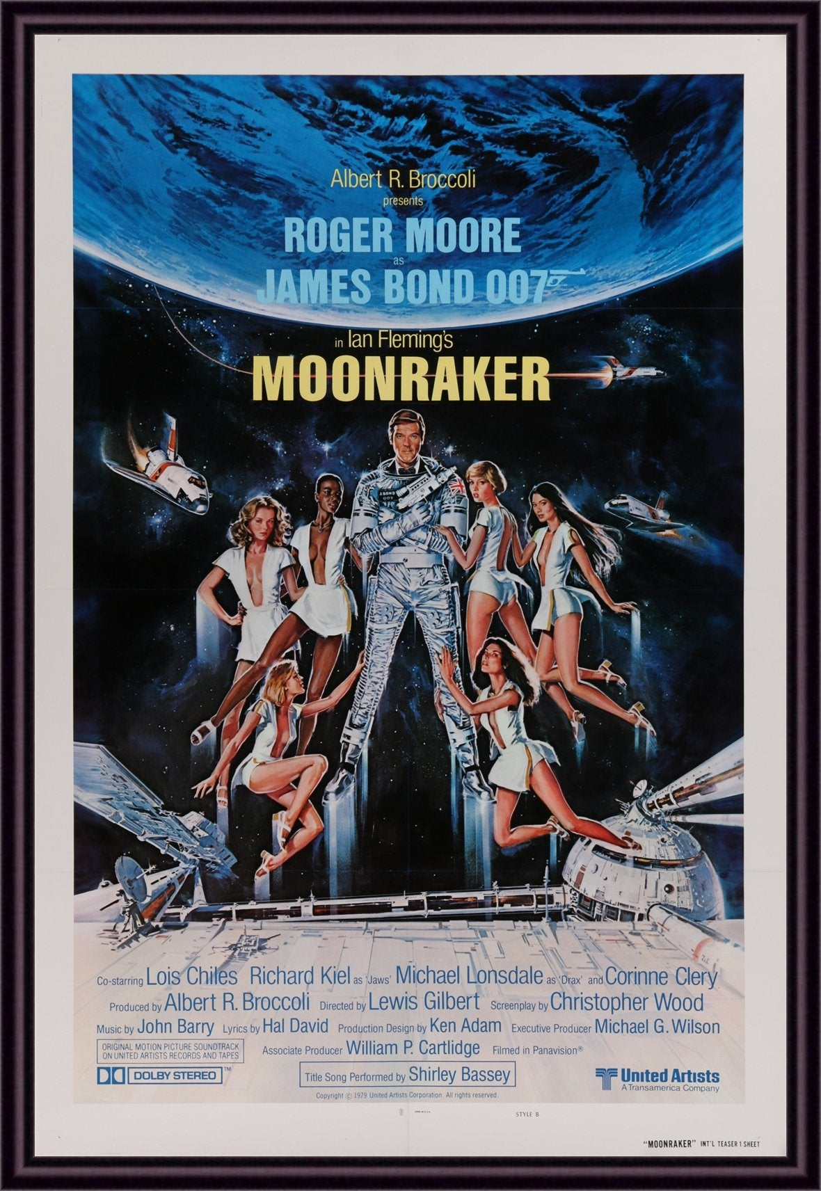 An original movie poster for the James Bond film Moonraker